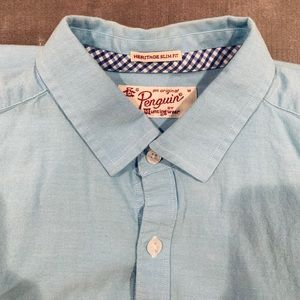 Original Penguin Teal Shirt - Slim Fit